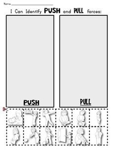 FORCE and MOTION: Push and Pull Picture Sort Workpage Science