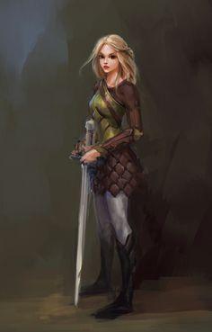 f Half Elf Fighter ArtStation - girl character, Zach Sharts Fantasy Warrior, Fantasy Girl, High Fantasy, Fantasy Women, Fantasy Rpg, Fantasy Artwork, Woman Warrior, Girls Characters, Dnd Characters