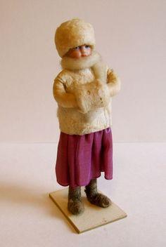 Fabulous Antique German Bisque & Cotton Batting Christmas Doll