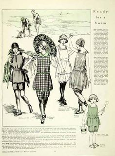 Days Gone By - June, 1921 The Designer swimwear Vintage Bathing Suits, Vintage Swimsuits, Women Swimsuits, Fashion Swimsuits, Historical Costume, Historical Clothing, Historical Women, Historical Pictures, 1920s Swimsuit