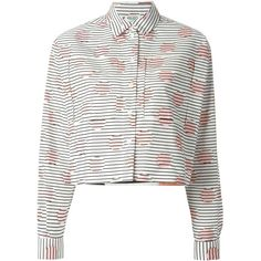 Kenzo 'Dots & Stripes' shirt featuring polyvore, fashion, clothing, tops, shirts, blouses, white, polka dot shirt, white tops, white collar shirt, polka dot crop top and horizontal striped shirt