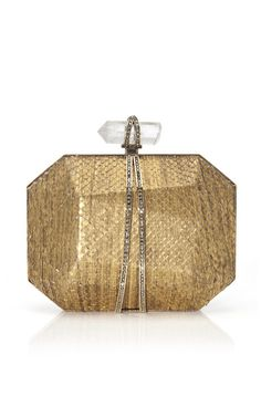 Shop Iris Clutch in Gold Python by Marchesa for Preorder on Moda Operandi