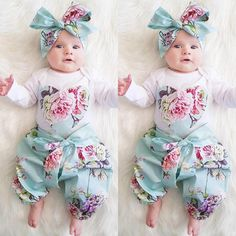 3pcs Newborn Kid Baby Girl Floral Clothes Jumpsuit Romper Bodysuit Pants Outfits