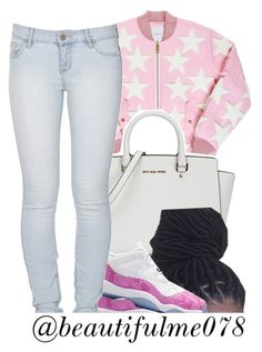 """""""Pink ."""" by beautifulme078 ❤ liked on Polyvore featuring Happy Plugs, Michael Kors, Retrò and Lee"""