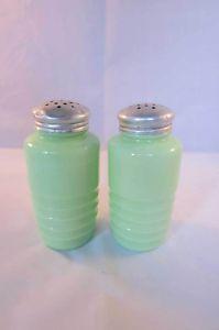 Jadeite Glass Ridged Round Shakers