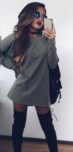 Sweater dress from fall outfit уличная мода, одежда и плать Komplette Outfits, Casual Outfits, Fashion Outfits, Fashion Trends, School Outfits, Simple Edgy Outfits, Boot Outfits, Night Outfits, Fashion Ideas