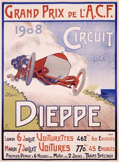 1908 French Grand Prix Roadster Ad Fine Art Print