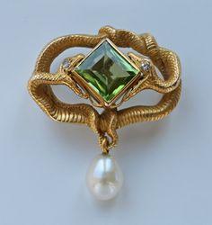 Karl Rothmuller peridot, gold, diamond brooch, 1900