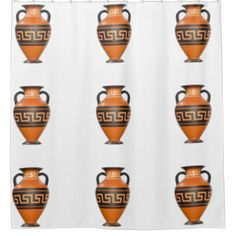 Hipster shower curtain retro urn pattern - trendy gifts cool gift ideas customize