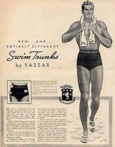 Fatos de banho de homem -1930s- em 1937, começa a ser permitido aos homens banharem-se publicamente sem partes de cima
