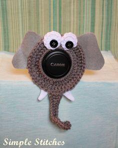 Crochet Elephant Camera Lens Buddy by SimpleStitchesLB on Etsy, $10.00