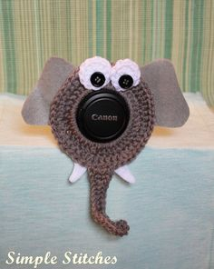 Crochet Elephant Camera Lens Buddy by SimpleStitchesLB on Etsy, $10.00