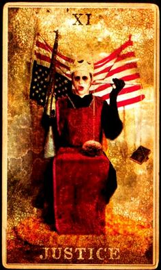 The Justice card from the Marilyn Manson Tarot
