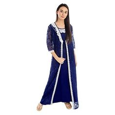 8b47d0c910 Patrorna Lace Trimmed Royal Blue Maxi Length Nighty Nightdress Night Gown  with Full Length Luxurious Robe