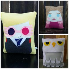 Wizard pillow Harry Hermione Ron Luna Draco plush by telahmarie. Except never umbridge! Harry Potter Pillow, First Harry Potter, Harry Potter Bedroom, Theme Harry Potter, Harry Potter Diy, Draco, Harry Hermione Ron, Ron Weasley, Hedwig