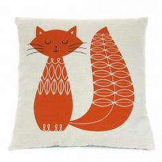Cat Cushion - Burnt Orange