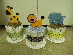 3 Jungle theme mini diaper cake, baby shower centerpiece. $20.00, via Etsy.