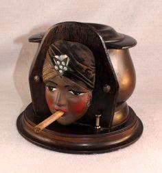 RARE Art Deco Gypsy Girl 1920s Wooden Mechanical Cigarette Dispenser Pristine   eBay