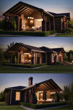 New house luxury exterior architecture Ideas Modern Exterior, Exterior Design, Plan Chalet, Backyard Furniture, Furniture Ideas, Outdoor Furniture, Metal Buildings, Exterior House Colors, Cool House Designs