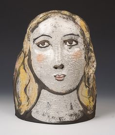 """Small Face - Woman"" Ceramic Sculpture"