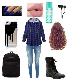 """""""Cute Flannel School Outfit"""" by janerisgaard on Polyvore featuring Ted Baker, Bobeau, JanSport and Skullcandy"""