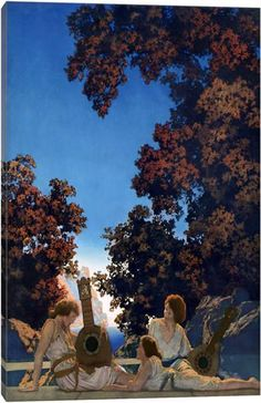 """Maxfield Parrish -""""The Lute Players"""" The original painting resides in the Memorial Art Gallery of Rochester. I have loved his paintings since the first time I saw this as a child. Memorial Art Gallery, Thomas Blackshear, Edward Burne Jones, Maxfield Parrish, Sisters Art, Witch Art, Nature Paintings, Cool Art, Awesome Art"""