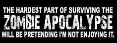 Zombie Apocolypse, Apocalypse, Zombies Run, Zombie Hunter, Bumper Stickers, Scary, Survival, Nom Nom, Photoshoot