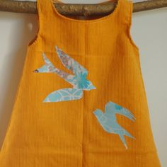 Yellow Corduroy Dress with Blue Swallows by UrbanSproutClothing, $37.00