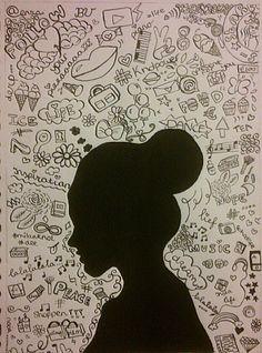 Silhouet met achtergrond van gedachten/gevoelens ism mindmap