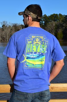 Our Dolphin Rectangle tee is available in short AND long sleeves! Comfort Color Purple! Spring staple! www.heybosouthern.com