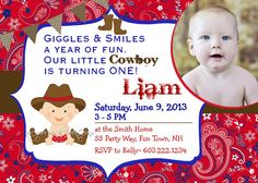Cowboy Birthday Party Invitation Paisley  by AsYouWishCreations4u