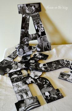 DIY Photo Collage Letters #diy #decor #wall art #plaque #wood  #family #pictures #photos #baby #kids #gift