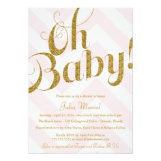 Glitter Baby Shower Invitation with Chevron. Buy glitter baby shower cards to add some glitter and sparkle to your event! This pretty and sweet looking design looks just like glitter, but, without the mess.