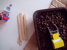 coffee beans for sensory bin