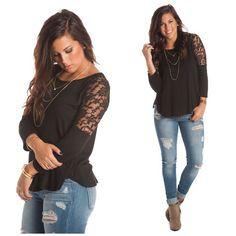 Lace Shoulder Tunic, $21.00