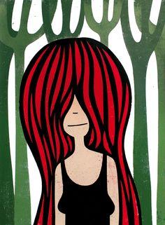 Roman Klonek - Jungle Girl |  Woodcut, 49 x 69 cm