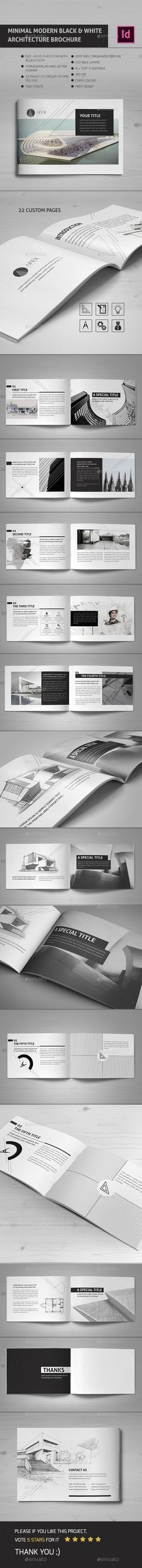 Minimal Modern Black & White Architecture Brochure Template InDesign INDD. Download here: https://graphicriver.net/item/minimal-modern-black-white-architecture-brochure-indd-v/17456046?ref=ksioks