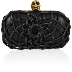 Alexander McQueen Skull woven leather box clutch (1,433,195 KRW) ❤ liked on Polyvore featuring bags, handbags, clutches, purses, accessories, alexander mcqueen, woven leather purse, skull purse, leather skull purse and genuine leather handbags
