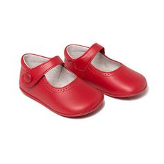 My First Red Leather Mary Janes