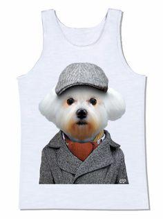 camiseta cachorro maltês boina trentch coat casaco animal pet animal de estimação