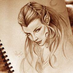 sketch of Nicole Evangeline Lilly as Tauriel by WojikHell.deviantart.com on @DeviantArt