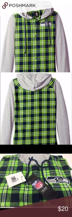 Seattle Seahawks Women's Hooded Flannel Jacket Brand New Officially Licensed with tags. Every 12th Woman needs to stay in style in and out of the stadium. This lightweight hooded flannel brings that Pacific Northwest vibe wherever you find yourself. Made of 100% cotton with an embroidered Seahawk over your heart where it belongs. 190163584681 TX NFL Tops Button Down Shirts