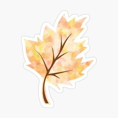 Yellow And Brown, Orange Yellow, Scrapbook Stickers, Transparent Stickers, Glossier Stickers, My Arts, Leaves, Watercolor, Art Prints