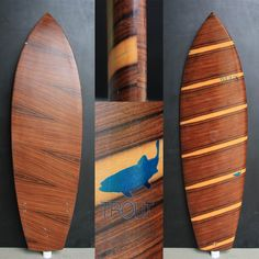 """WUUX """"Trout"""" x 19 x 2 with a crazy full palisander wood jacket - inside with some extra carbon rails for more stability and super light with only kg Surfboard Fins, Surfboards, Trout, Stability, Interior Styling, Surfing, Jacket, Wood, Handmade"""