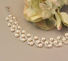 Cream Pearl and Crystal Bridal Bracelet Wedding by BridalDiamantes