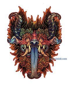 Demon Sticker by dmillustration Tattoo Sketches, Tattoo Drawings, Wolf Tattoo Traditional, Indonesian Art, Batik Art, Japan Tattoo, Japanese Tattoo Designs, Scary Art, Thai Art