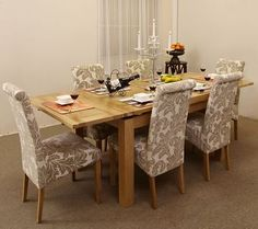 Dorset Natural Solid Oak Dining Set - 4ft 7   Fabric chairs and ...