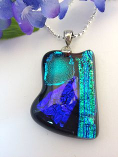 Dichroic Fused Glass Necklace Pendant Big and by Mtbaldyglassworks, $27.00
