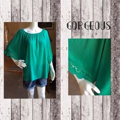 Gorgeous green boho top Gorgeous green boho top. 100% Rayon. Adorable lace finish on sleeves. Tops Blouses