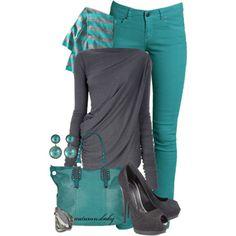 Aqua Pants and Gray Accents
